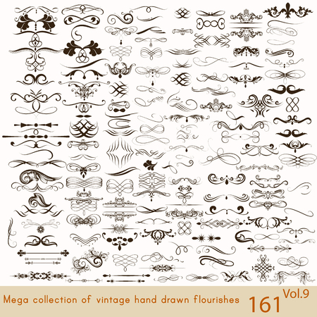 vintage: Große Reihe oder eine Sammlung von kalligraphisches gedeiht eine Menge von dekorativen Elemente für das Design