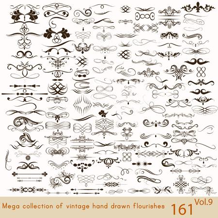vintage: Jogo grande ou uma coleção de caligrafia floresce uma série de elementos decorativos para o projeto