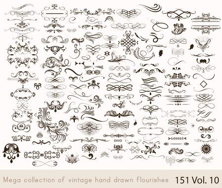 dekoration: Große Reihe oder Sammlung von kalligraphischen Schnörkel und Wirbel für Design