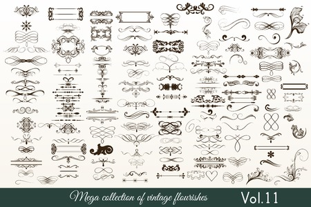 Mega collection or set of filigree drawn flourishes in vintage or retro style Illustration