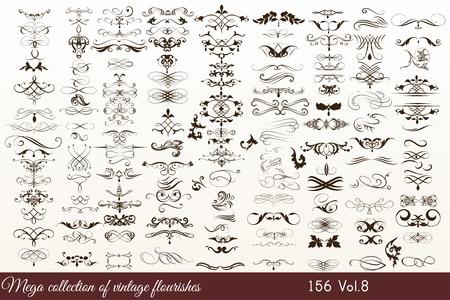 Mega Sammlung oder einen Satz von filigran gezeichneten Schnörkel im Vintage-oder Retro-Stil
