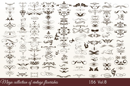 Mega collection or set of filigree drawn flourishes in vintage or retro style Illustration