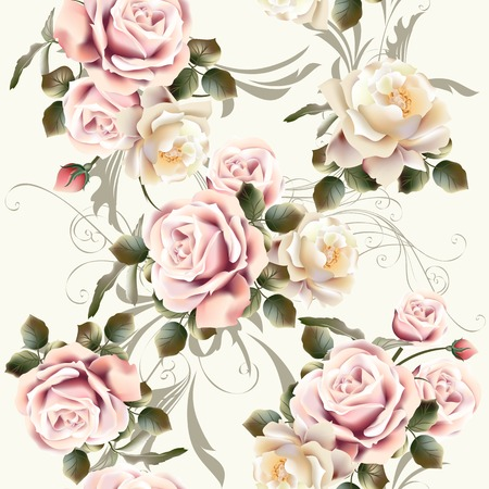 love words: Seamless background or pattern with rose flowers in retro style Illustration