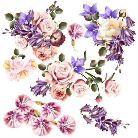 big: Gran colección o conjunto de flores realistas para el diseño