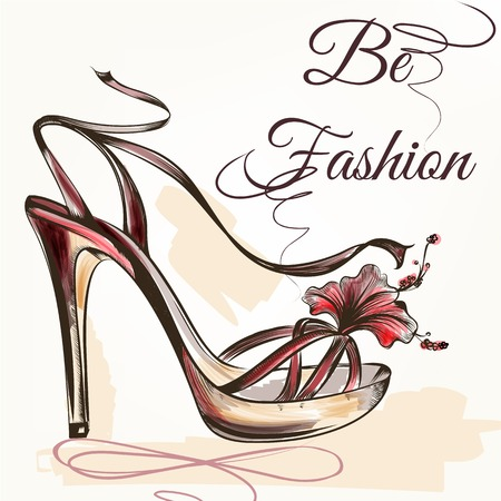 Fashion vector background with pink hand drawn female shoe