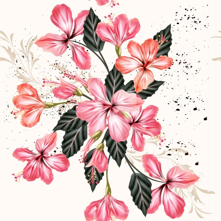 hibiscus flowers: Beautiful vintage seamless background with pink hibiscus flowers in grunge style
