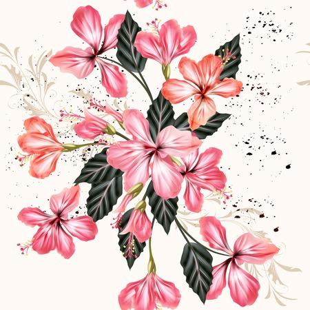 ibiscus: Bellissimo sfondo d'epoca senza soluzione di continuità con i fiori di ibisco rosa in stile grunge