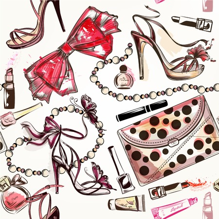 Fashion vector seamless background with pink hand drawn female shoes lipstick perfume and other cosmetics Ilustração