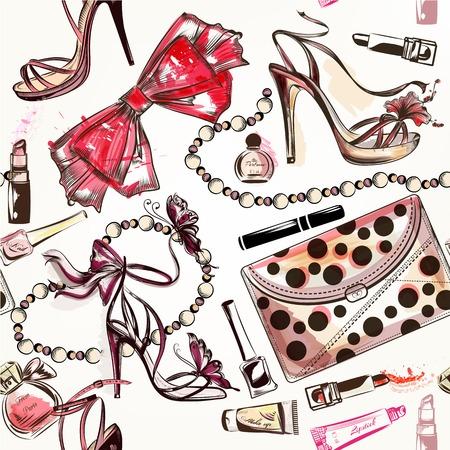 moda: Moda vetor fundo sem emenda com sapatos femininos m�o-de-rosa tiradas batom perfumes e outros cosm�ticos Ilustração