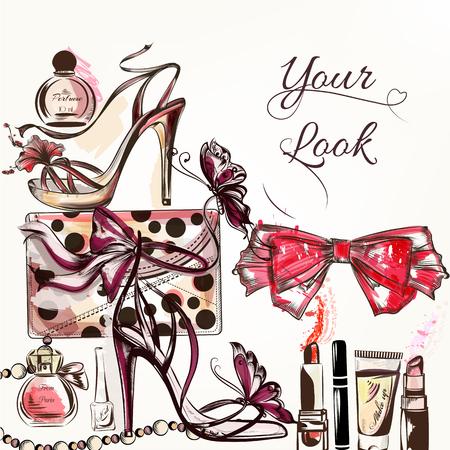 手描きの女性の靴と化粧品口紅クリーム弓香水などファッションのベクトルの背景 写真素材 - 49354342