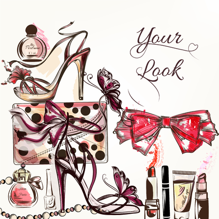 Fashion vector background with hand drawn female shoes and cosmetics lipstick cream bow perfume and other