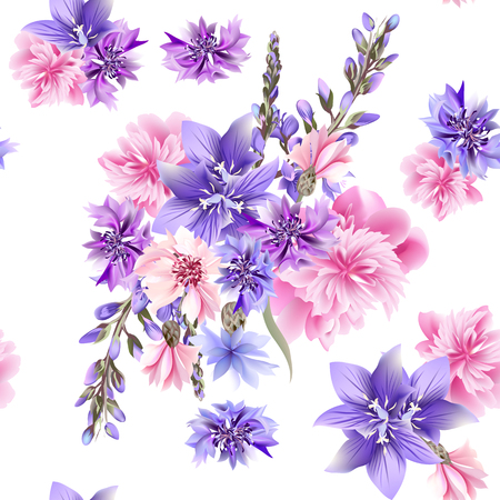 Floral seamless background with pink and blue field flowers