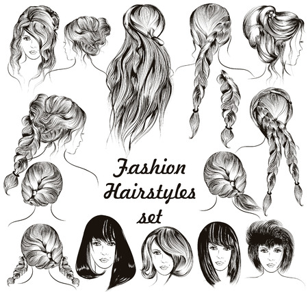 hair back: Fashion illustration different female hairstyles set in engraved style