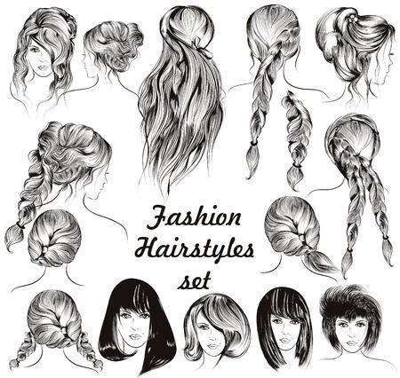 pelo largo: Ilustración de moda diferentes peinados femeninos fijaron en estilo grabado Vectores