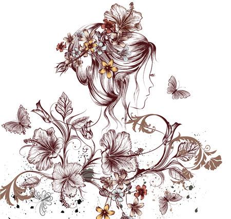 femme papillon: Fashion illustration avec de beaux jeunes papillons fée femme et fleurs d'hibiscus symbole du printemps Illustration