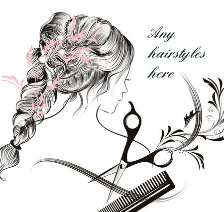 tijeras: Ilustración de moda con hermosa joven de pelo largo chica peine y tijeras símbolo de la peluquería Vectores