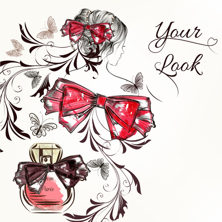 nice girl: Fashion vector background with hand drawn female sketched portrait butterflies perfume and bow for design