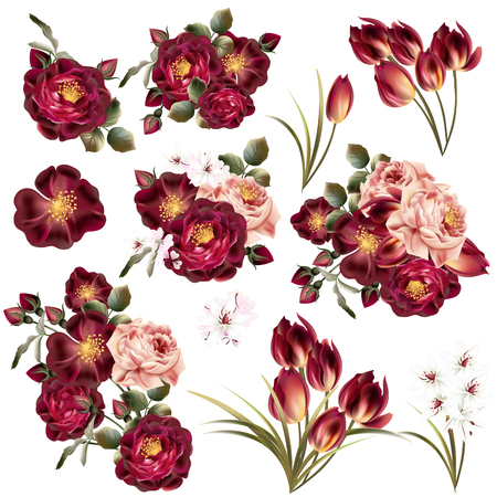 Big collection or set of realistic vector flowers for design