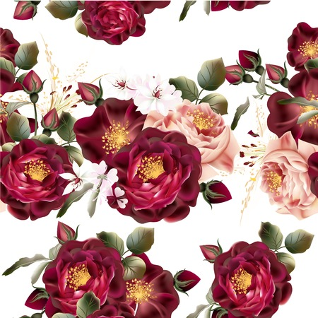 flower borders: Beautiful seamless wallpaper pattern with realistic vector roses in vintage style Illustration