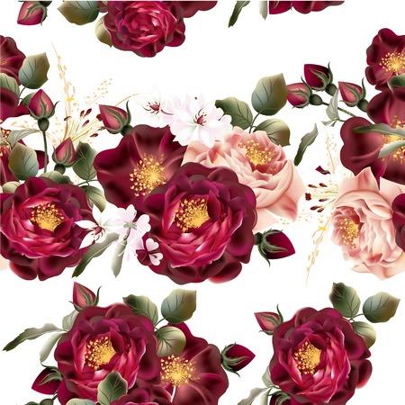 patrones de flores: Patrón de papel tapiz sin fisuras hermosa con las rosas realistas del vector en estilo de la vendimia