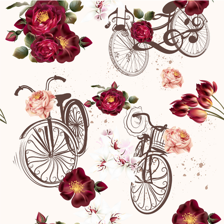 nice: Beautiful seamless background with roses and bikes in vintage style