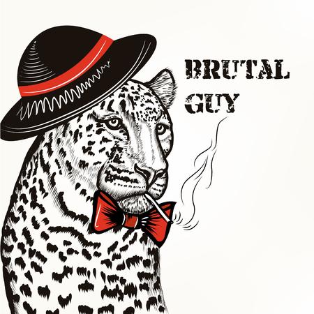 brutal: Hipster fashion background with stylish leopard men hat cigarette brutal guy  trendy background