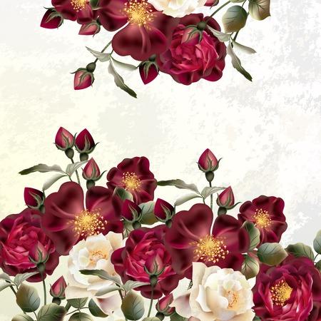 patrones de flores: Fondo o ilustración con flores de rosa en estilo retro