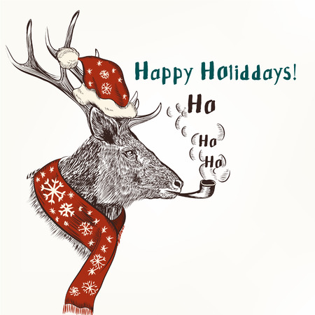 christmas humor: New year and Christmas humor  background with smoke deer in red scarf and hat like Santa happy holidays