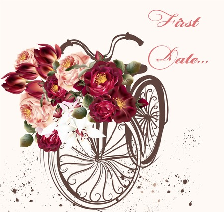 Beautiful greeting card with vintage bicycle and roses first date Stock Illustratie