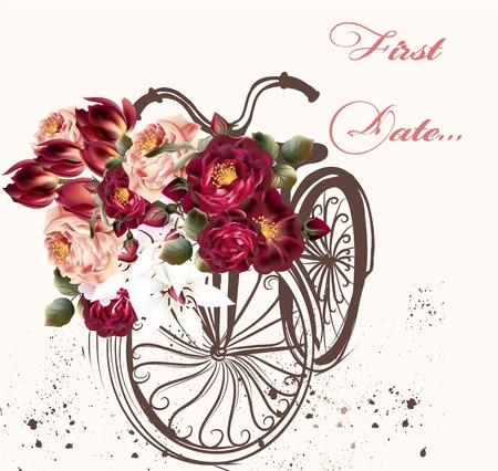 Tarjeta de felicitación hermosa con la bicicleta de la vendimia y rosas primera fecha