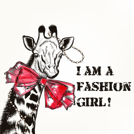 fashion background: Hipster fashion background with stylish giraffe girl with pink bow trendy background