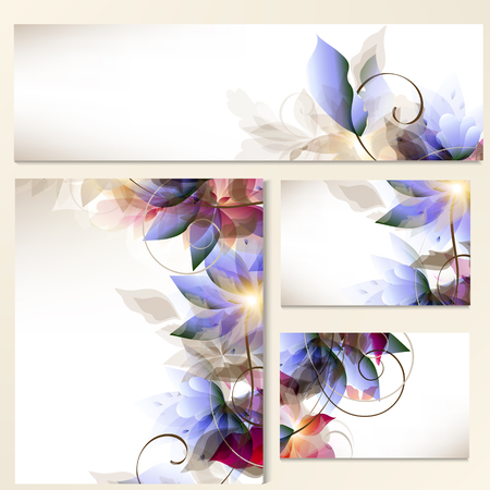 Corporate floral identity templates with abstract foliage in blue and pink colors for design Illustration