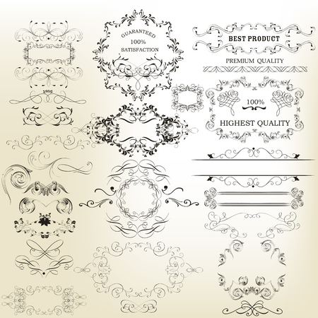marcos decorativos: Collection of vintage calligraphic ornate floral elements and frames