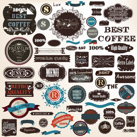 best quality: Big collection or set of vector grunge  labels premium best coffee quality in vintage style Illustration