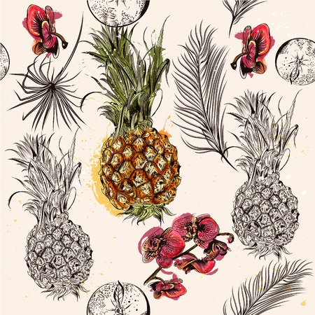 Tropical seamless wallpaper pattern with pineapples leafs orchids and tangerines Illustration