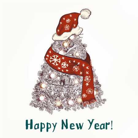 christmas humor: New year or Christmas humor  background with Xmas tree in red scarf and hat like Santa happy New Year