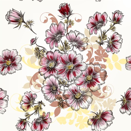 pattern antique: Beautiful seamless background with hand cosmos flowers in engraved and watercolor style