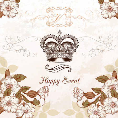 scroll border: Wedding invitation with hand drawn crown and  flowers in vintage style