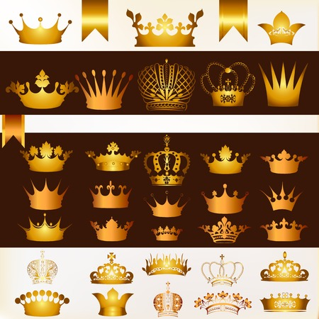 golden color: Collection of  vector crowns in golden color Illustration