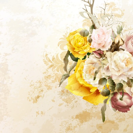 Grunge vector background with rose  flowers in vintage style Vettoriali