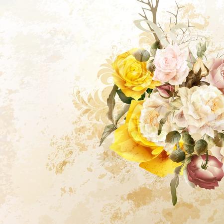 patrones de flores: vector de fondo del grunge con flores color de rosa en el estilo vintage Vectores