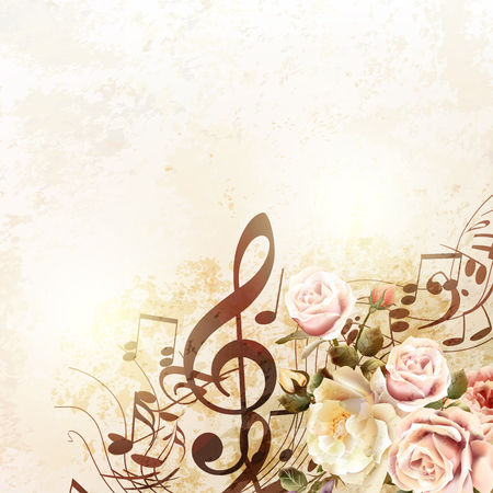 Grunge vector background with music notes and rose flowers in vintage style Stock Illustratie