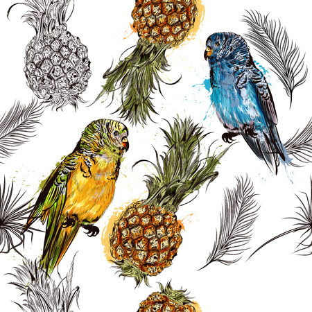 two parrots: Beautiful seamless vector background with tropical parrots and pineapples in engraved and watercolor styles