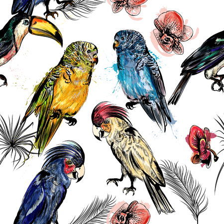 exotic flowers: Beautiful seamless vector background with tropical birds in engraved and watercolor styles