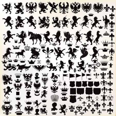 Mega set or collection of vector high quality shapes for heraldic projects Imagens - 50502696