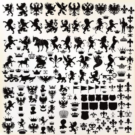 rycerz: Mega zestaw lub zbiór kształtów wektorowych wysokiej jakości projektów heraldycznych Ilustracja