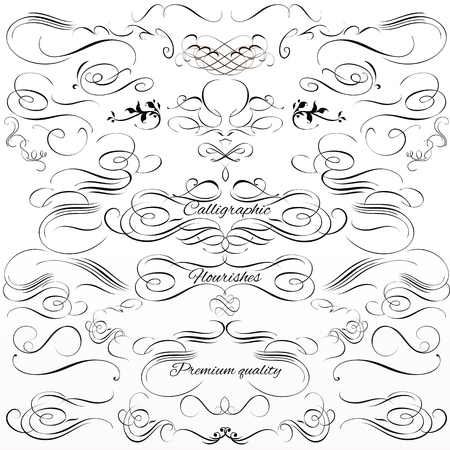 Collection or set of vintage styled calligraphic frames and flourishes Illustration