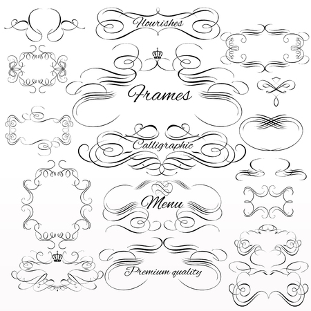 Collection or set of vintage styled calligraphic frames from  flourishes Illustration