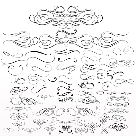 Collection or set of vintage styled calligraphic elements or flourishes