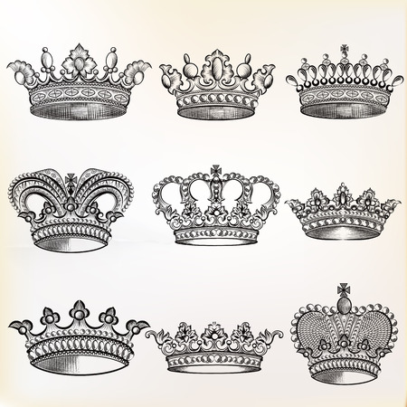 queens: Collection of  vector vintage crown design elements in engraved style Illustration